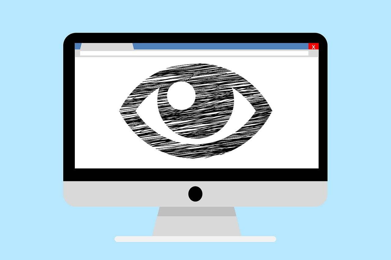 Image of an eye on PC screen